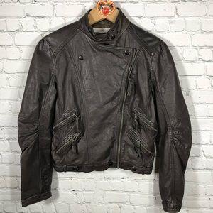 Zara Woman Leather Moto Jacket L